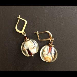 Glass Multicolored Bead Earrings